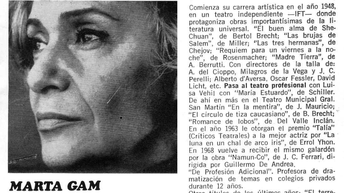 Marta Gam en Equus - Teatro El Nacional